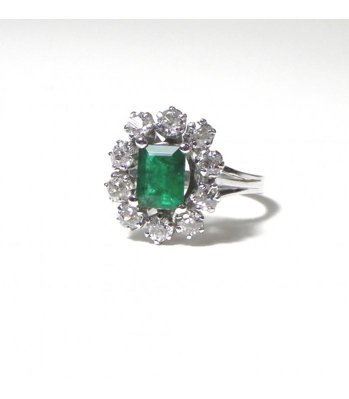 """""""BERYL"""" Belle bague marguerite or blanc diamants et exceptionnelle émeraude PB 4,17 g"""