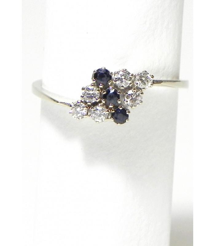 """""""LYDIA"""" Elégante bague en or blanc 750 diamants et saphirs"""
