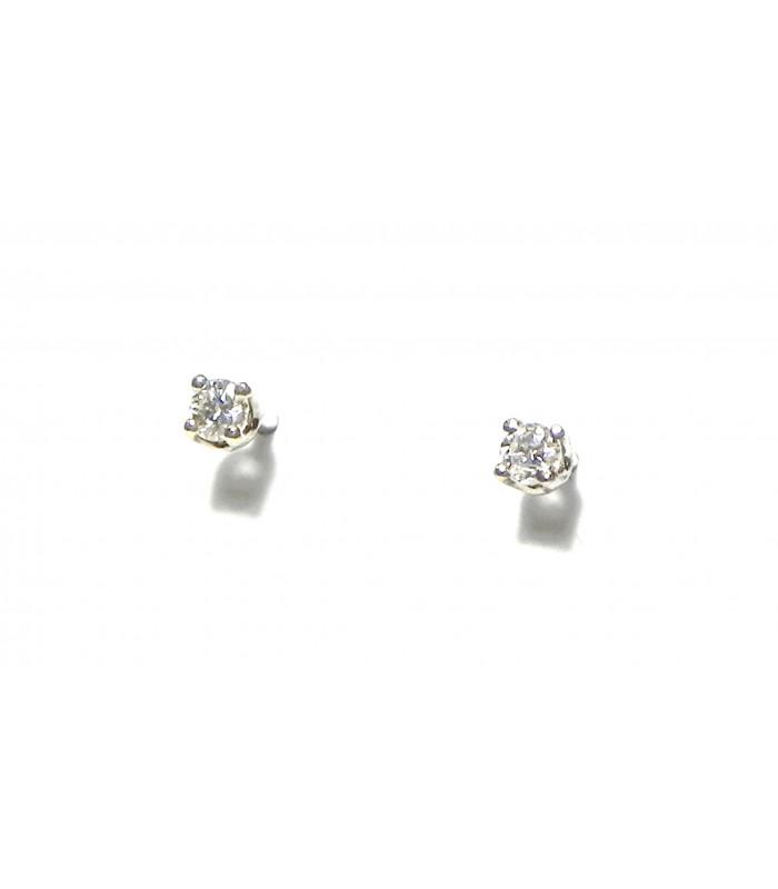"""""""LUCIOLES"""" Puces d'oreilles or blanc 750°/°°et diamants PB 1,3gr"""