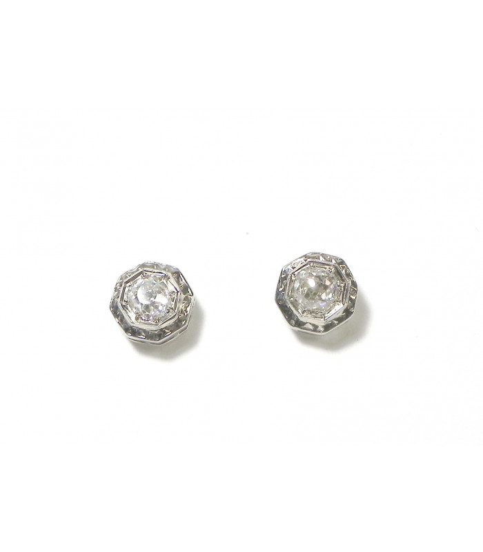 """""""SONIA"""" Merveilleux clous d'oreilles platine or 750 et diamants PB 1,80gr 772 € PRIX INCROYABLE !"""