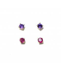 """""""ANNIE"""" Deux paires de puces d'oreilles en or 18 K RUBIS et améthyste 0,87gr prix incroyable !"""
