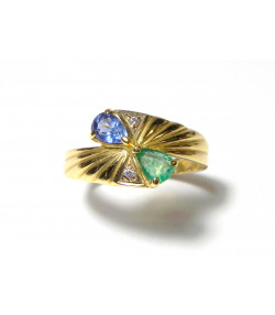 """""""COLETTE"""" Ravissante bague en or 750 saphir et émeraude taille poire et diamants - Petit prix !!!"""