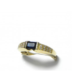 """YVANA"" Moderne et Classe bague or 18 kt saphir et 16 diamants PB 3,18gr"