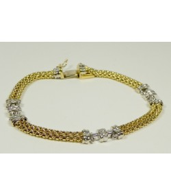 Bracelet or bicolore et diamants