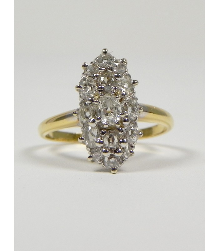 Superbe marquise ancienne en or jaune 750°°/°° et diamants