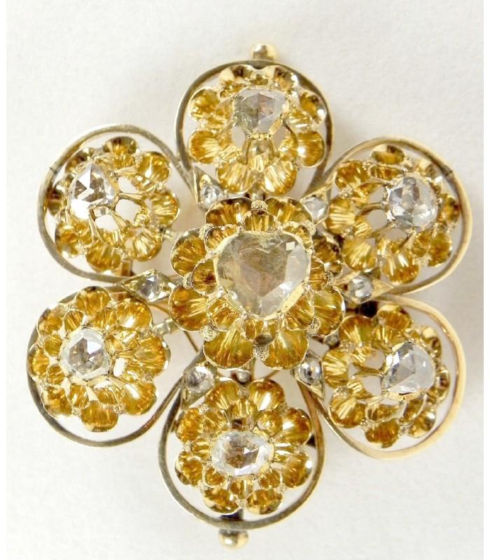 Superbe broche XIXème, vermeil et diamants taille rose