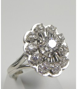 Bague marguerite platine diamants or