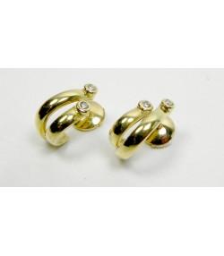 Clous d'oreilles modernes, or jaune et diamants