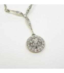 Collier Pendentif Art Déco diamants platine et or