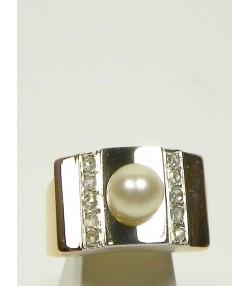 """Bague """"années 40"""" platine perle, diamants"""