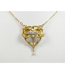 Broche pendentif ancien, or, platine diamants et perles