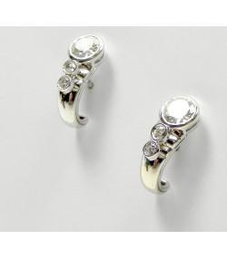 Boucles d'oreilles modernes or gris, diamants