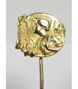 Epingle de cravate art nouveau or