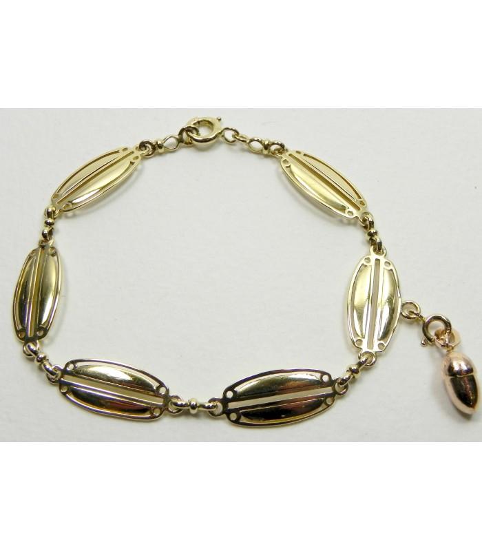 Bracelet ancien en or jaune et breloque en or rose