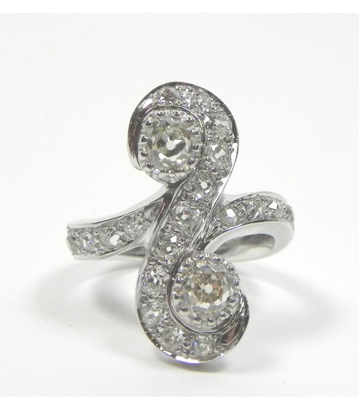 """Bague """"Toi et Moi"""", Or palladié, diamants"""