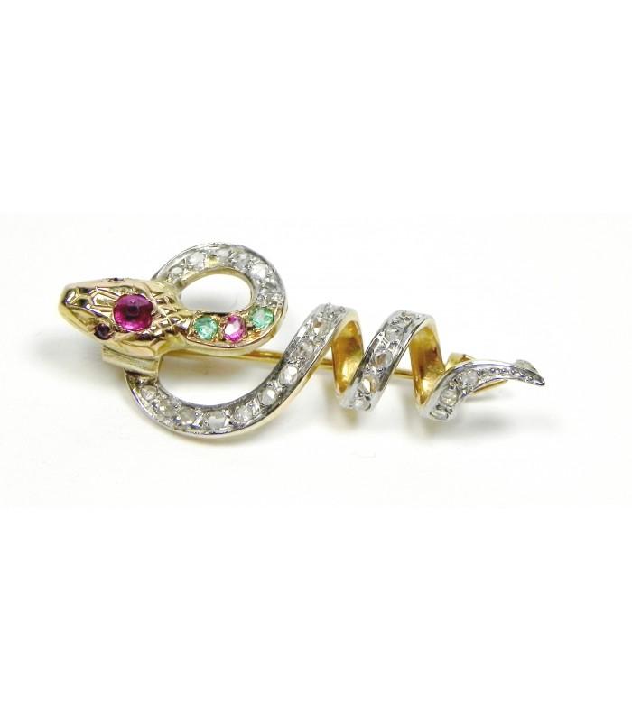 """Broche Art Déco """"Caducée"""" or, argent diamants"""
