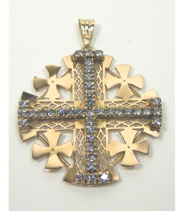 Pendentif Croix de Jérusalem, or 585 et pierres