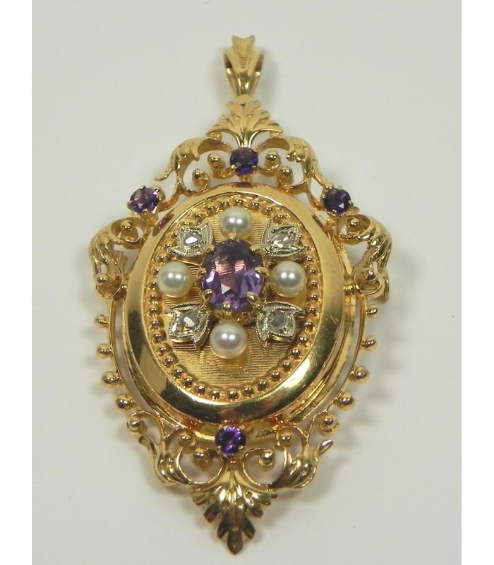 Pendentif-broche or 750, perles, diamant et pierres