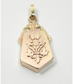 Pendentif ancien porte photo or rose 750